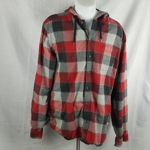 Eddie Bauer Button Up Shirt Jacket Woth Hood